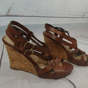Chinese Laundry Double Up cork wedge sz 9